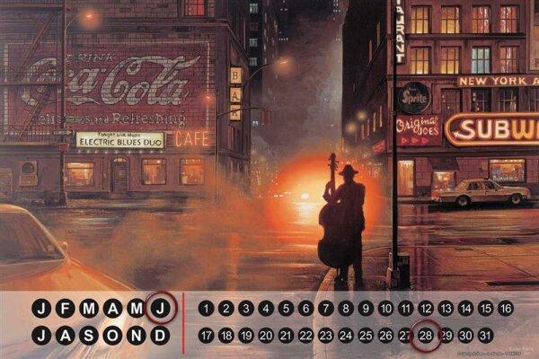 Perpetual Calendar Holiday Travel Agency G. Huber Jazz America Tin Metal Magnetic