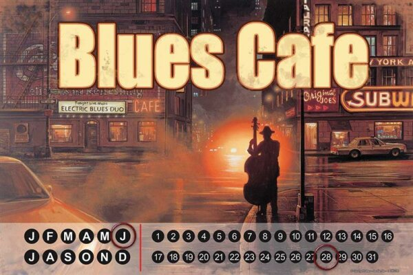 Perpetual Calendar Holiday Travel Agency G. Huber Blues cafe Tin Metal Magnetic