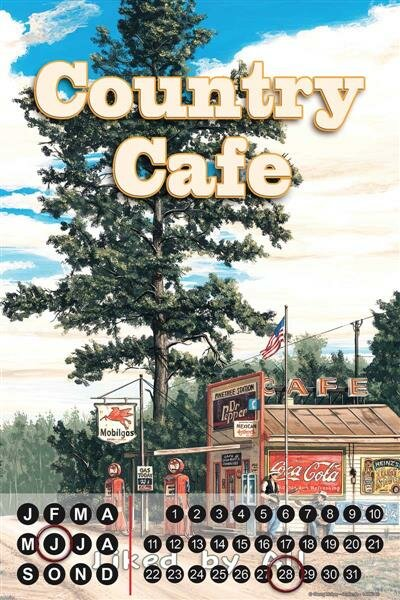 Perpetual Calendar Holiday Travel Agency G. Huber Country Cafe Tin Metal Magnetic