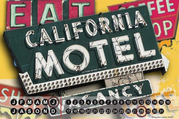 Perpetual Calendar Holiday Travel Agency G. Huber California Motel Tin Metal Magnetic