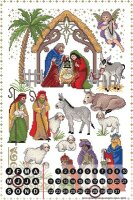 Perpetual Calendar Santa Claus Lindner birth of Christ...