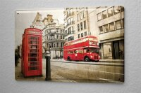 Tin Sign City London red bus phone