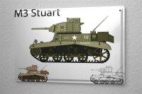 Blechschild Militär Panzer M3 Stuart