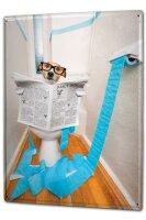 Tin Sign XXL Funny Cartoon Dog toilet