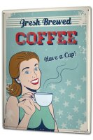 Tin Sign XXL Coffee Cafe Bar fresh brewed coffee