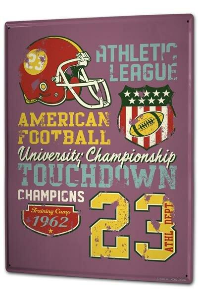 Blechschild XXL Retro American Football