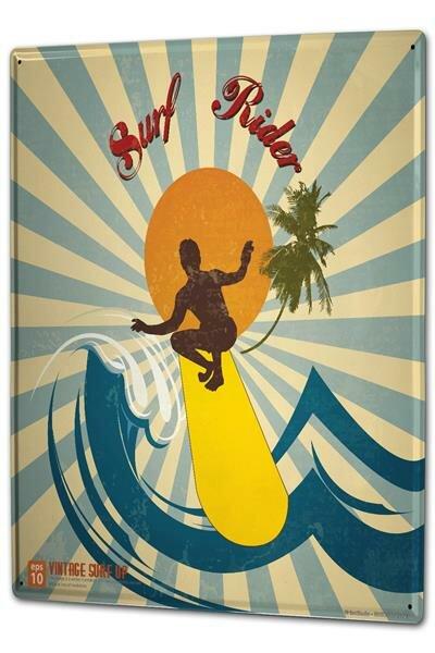 Blechschild XXL Nostalgie Surf Rider