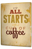 Tin Sign XXL Retro start cup coffee
