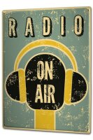 Tin Sign XXL Art radio on air