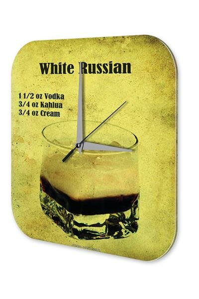 Wall Clock Bar Party Vintage Decoration Cocktail White Russian Acrylglas