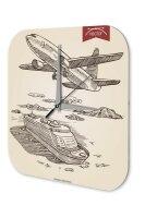 Wall Clock Airplane boat trip Printed Acryl Plexiglass...