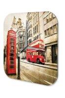 Wall Clock Deco City London red bus phone Printed Acryl...