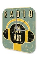 Wall Clock Garage Vintage Motif radio on air Plexiglass