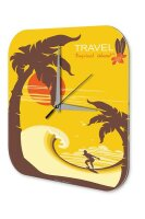 Wall Clock Holiday Travel Agency Tropical Island Plexiglass