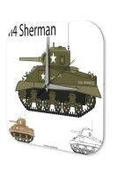 Wall Clock Retro Motif Sherman tank Printed Acryl Plexiglass