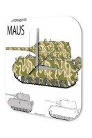 Wall Clock Retro Motif Tank Maus Printed Acryl Plexiglass