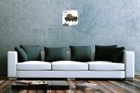 Wall Clock Retro Motif Tank Puma Printed Acryl Acrylglass