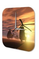 Wall Clock Retro Motif Helicopter Printed Acryl Acrylglass