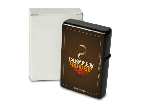 Pocket Windproof Lighter Brushed Oil Refillable Coffee House
