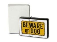 Pocket Windproof Lighter Brushed Oil Refillable Beware dog