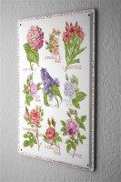 Lindner Design Blechschild Blumen Metall Deko Schild 20x30 cm