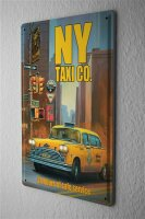 Tin Sign Holiday Travel Agency G. Huber Yellow Cab New York