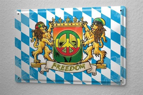 Blechschild Fun G. Huber Jamaika Bayern Freiheit