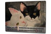 Perpetual Calendar Cat Krakowski two Katzenportrait Tin...