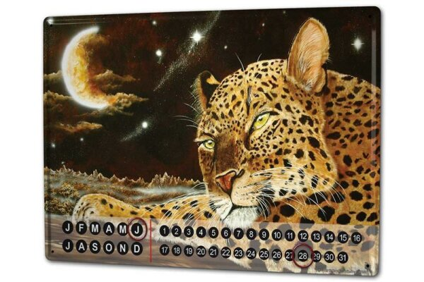 Perpetual Calendar Cat Krakowski Leopard Tin Metal Magnetic