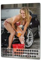 Perpetual Calendar Sexy Girl Carwash Tin Metal Magnetic
