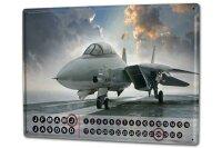 Perpetual Calendar Retro Fighter jet Tin Metal Magnetic