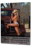 Perpetual Calendar Sexy Girl Cowgirl vintage Tin Metal...