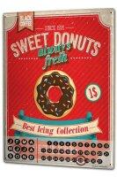 Perpetual Calendar Kitchen Best Donuts Tin Metal Magnetic
