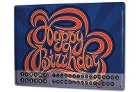 Perpetual Calendar Greeting Card Happy birthday Tin Metal...