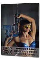 Perpetual Calendar Sexy Girl Drill Tin Metal Magnetic