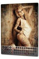Perpetual Calendar Sexy Fun rative Woman tattoo Tin Metal...
