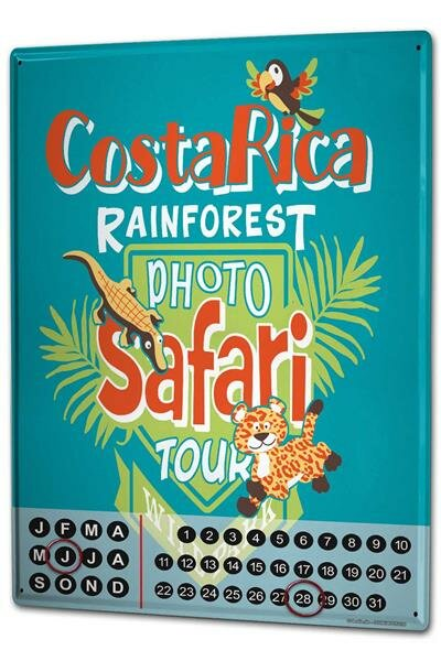 Perpetual Calendar Holiday Travel Agency Costa Rica Tin Metal Magnetic