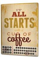 Perpetual Calendar Retro start cup coffee Tin Metal Magnetic