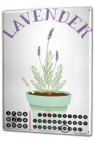 Perpetual Calendar Flora Floral Lavender Tin Metal Magnetic