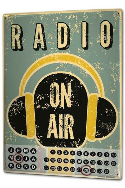 Dauer Wand Kalender Retro Radio auf Sendung Metall Magnet