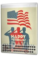 Perpetual Calendar Retro happy veterans day Tin Metal...