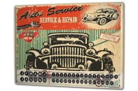 Perpetual Calendar Garage Auto service Tin Metal Magnetic