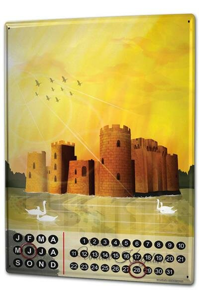 Perpetual Calendar Holiday Travel Agency Badiam Castle Tin Metal Magnetic