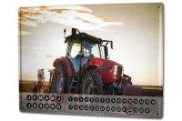 Perpetual Calendar Nostalgic Tractor rative Harrow Tin...