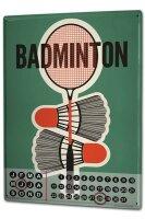 Perpetual Calendar Fun Badminton Tin Metal Magnetic