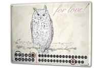 Perpetual Calendar Bird OWL love Tin Metal Magnetic