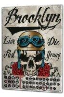 Perpetual Calendar Garage Brooklyn motorcycle Tin Metal...