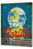 Perpetual Calendar Holiday Travel Agency Florida Beach Tin Metal Magnetic