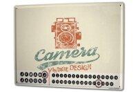 Perpetual Calendar Retro Camera Tin Metal Magnetic