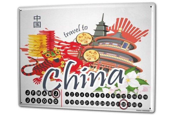 Perpetual Calendar Holiday Travel Agency China Tin Metal Magnetic